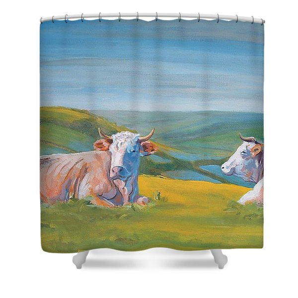 Cows Lying Down Painting Shower Curtain