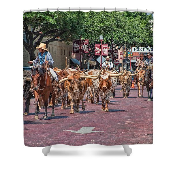 Cowtown Cattle Drive Shower Curtain