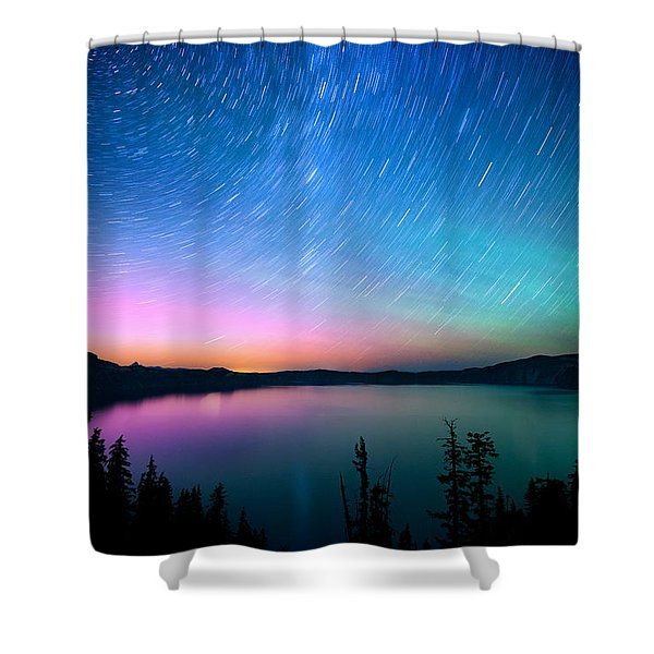 Crater Lake Aurora  Shower Curtain