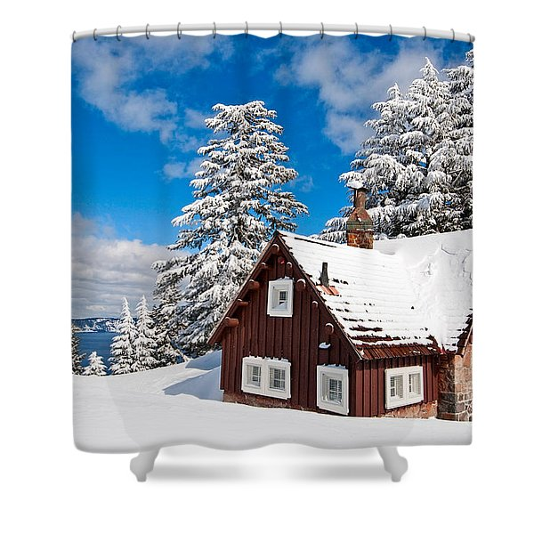 Crater Lake Home - Crater Lake Covered In Snow In The Winter. Shower Curtain