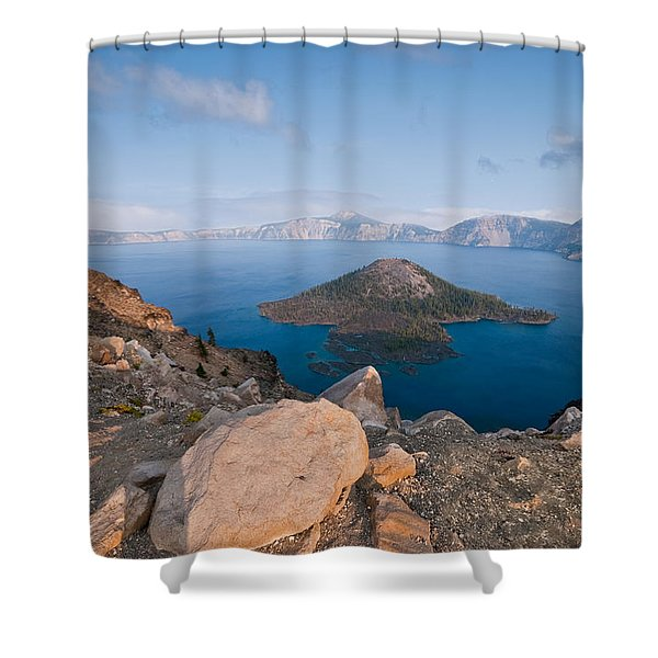 Crater Lake In The Evening Shower Curtain
