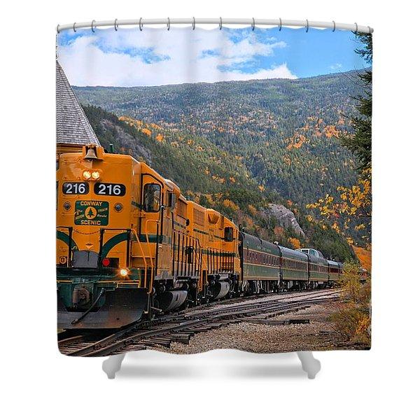 Crawford Notch Train Depot Shower Curtain