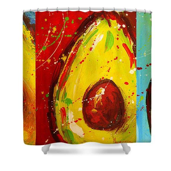 Crazy Avocados Triptych  Shower Curtain