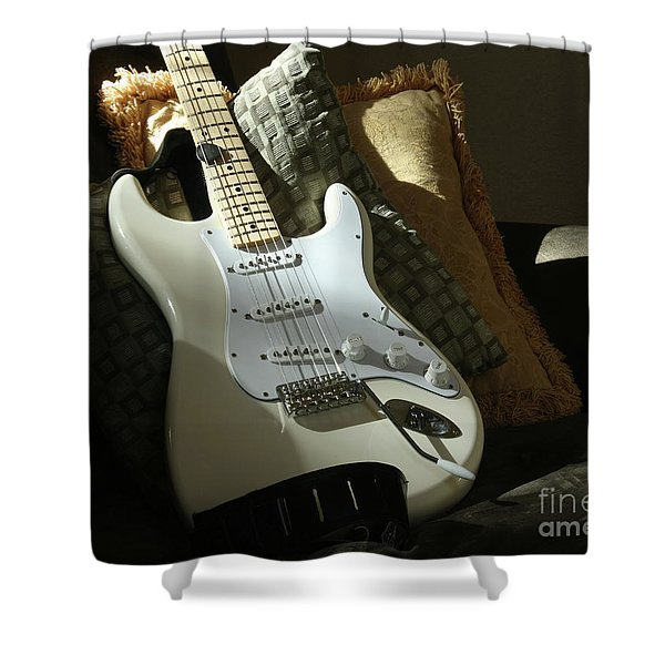Cream Guitar Shower Curtain
