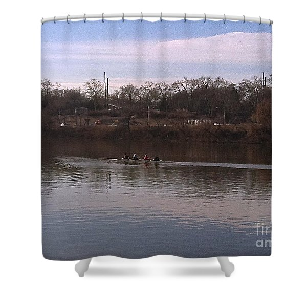 Crew On The Schuylkill - 1 Shower Curtain