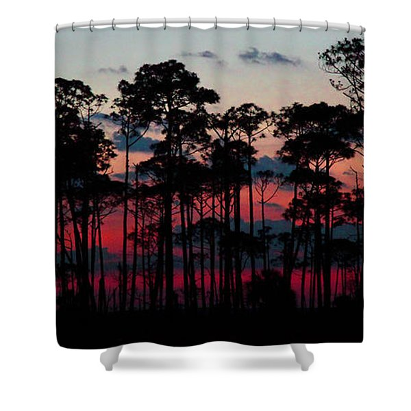 Crimson In The Pines Shower Curtain