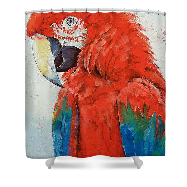 Crimson Macaw Shower Curtain