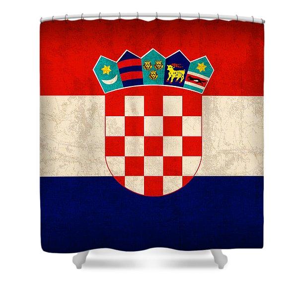 Croatia Flag Vintage Distressed Finish Shower Curtain