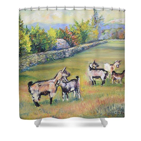 Croatian Goats Shower Curtain