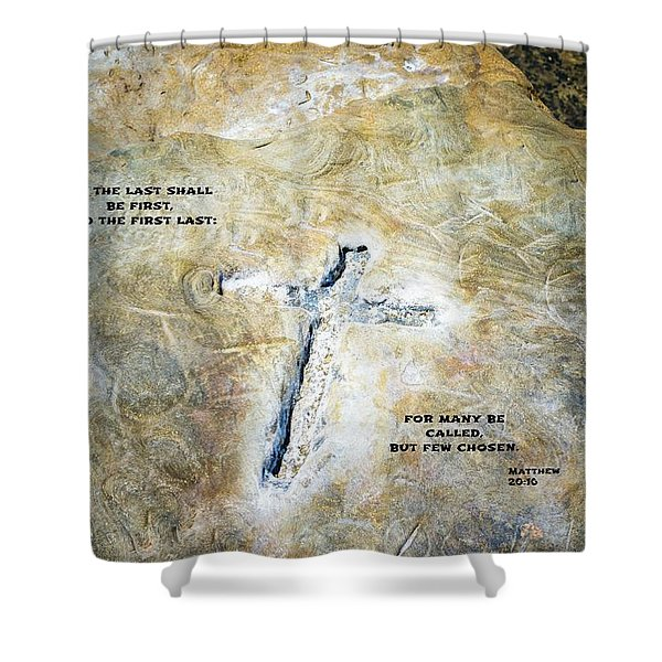 Cross And Words Shower Curtain