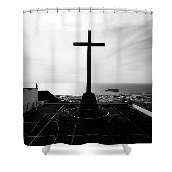 Cross Atop Old Chapel In Village  Shower Curtain