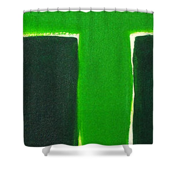 Green Cross On Hill Shower Curtain