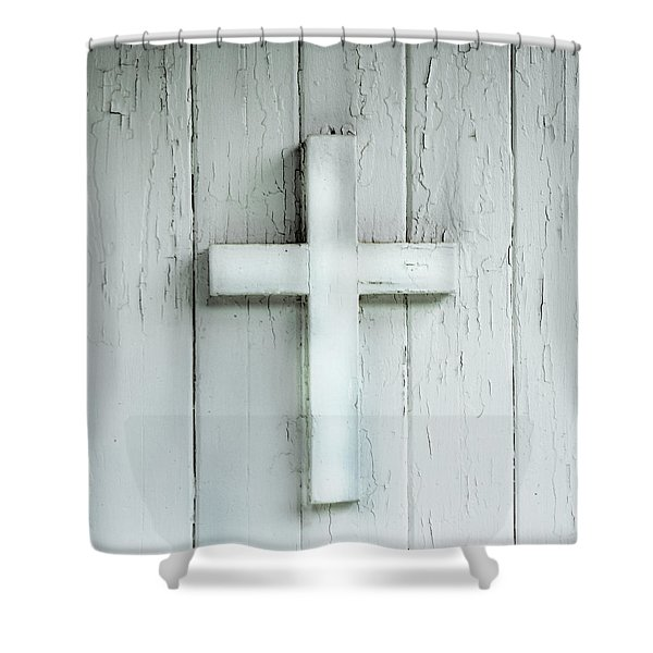 Cross On Holy Angels Sugar Island Michigan Shower Curtain