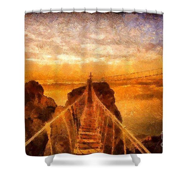 Cross That Bridge Shower Curtain