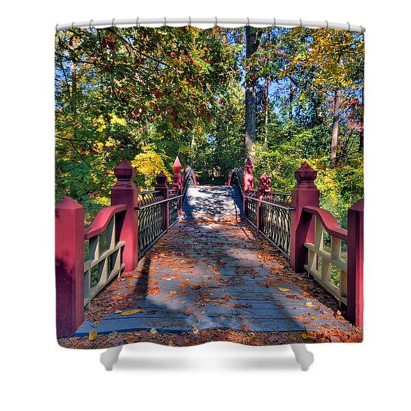 Crossing The Crim Dell Bridge Shower Curtain