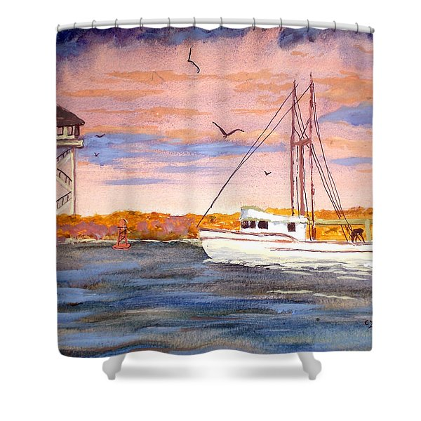Crossing The Tillamook Bay Bar Shower Curtain