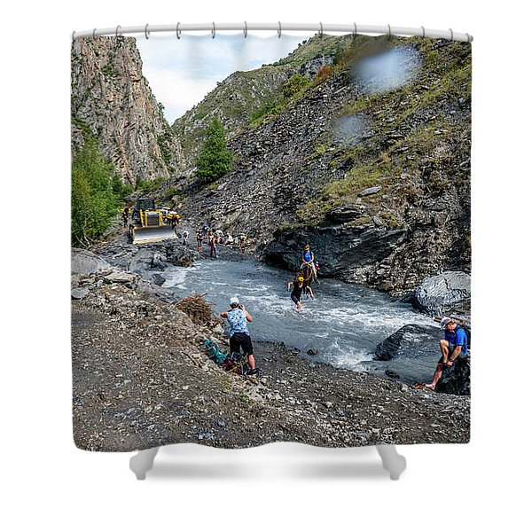 Crossing Washed Out Road In Republic Shower Curtain