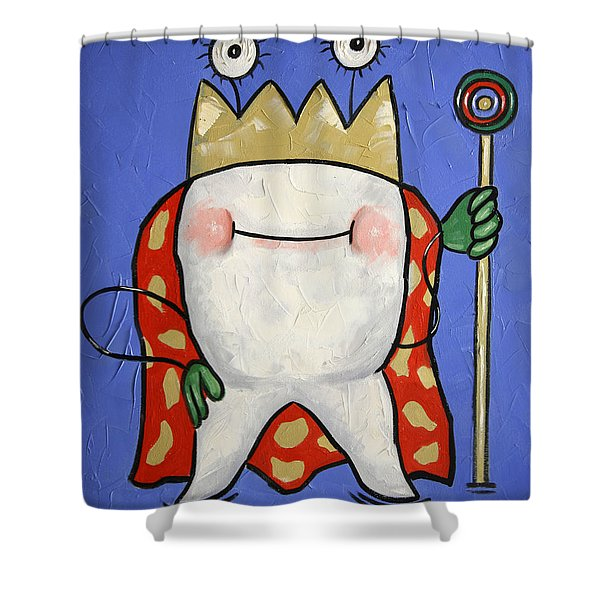 Shower Curtain featuring the painting Crowned Tooth by Anthony Falbo