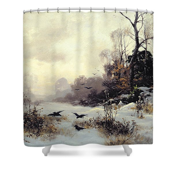 Crows In A Winter Landscape Shower Curtain