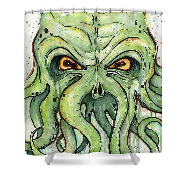 Cthulhu Watercolor Shower Curtain