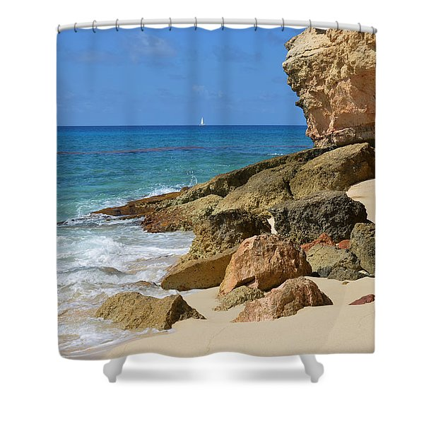 Cupecoy Bay Sailboat Shower Curtain