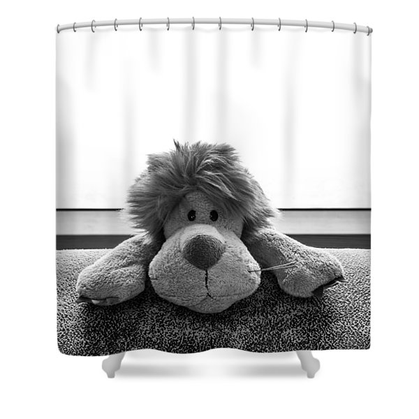 Curious Leo Shower Curtain