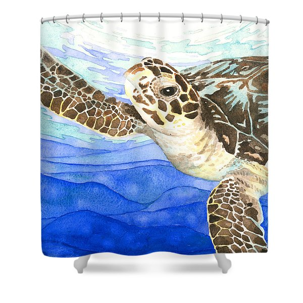 Curious Sea Turtle Shower Curtain