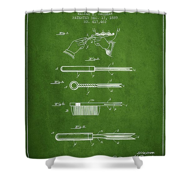 Curling Tongs Patent From 1889 - Green Shower Curtain