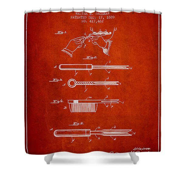Curling Tongs Patent From 1889 - Red Shower Curtain