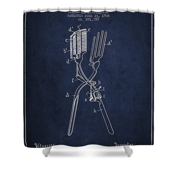 Curling Tongs Patent From 1908 - Navy Blue Shower Curtain