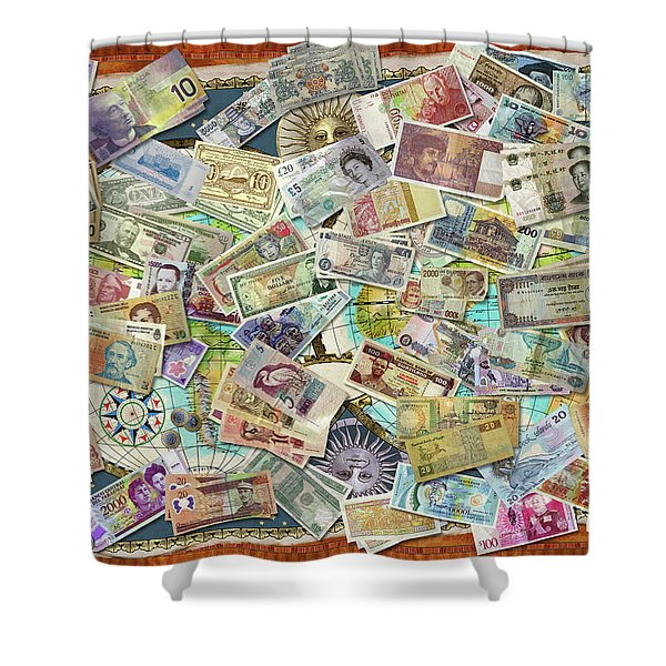 Currency Map Shower Curtain