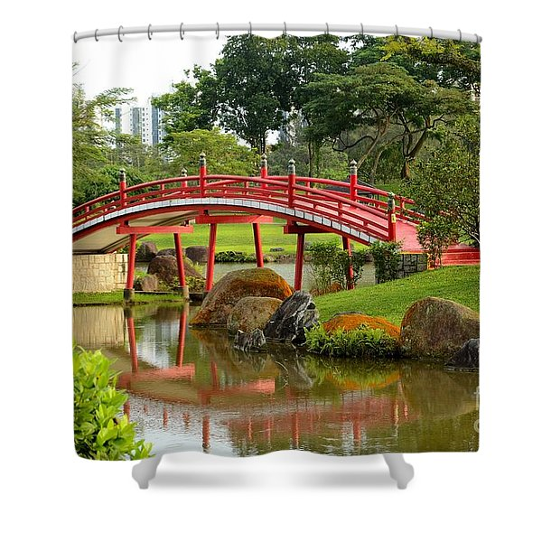 Curved Red Japanese Bridge And Stream Chinese Gardens Singapore Shower Curtain