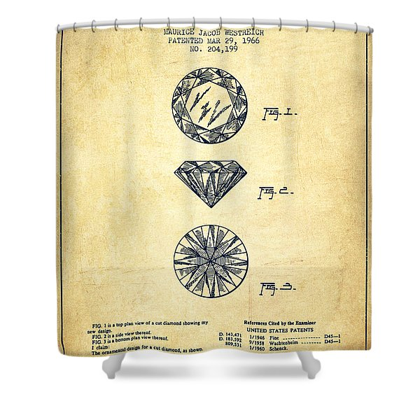 Cut Diamond Patent From 1966 - Vintage Shower Curtain