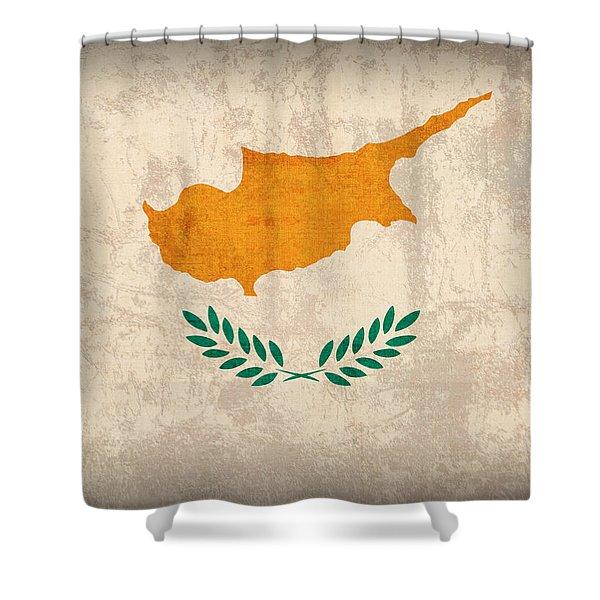 Cyprus Flag Vintage Distressed Finish Shower Curtain