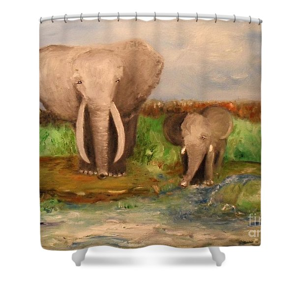 Shower Curtain featuring the painting Daddy's Boy by Laurie Lundquist