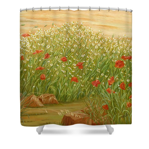 Daisies And Poppies Shower Curtain