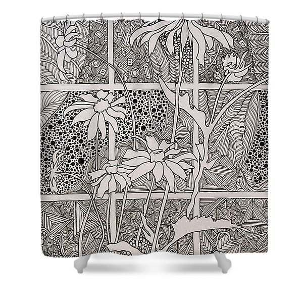 Daisies In A Window Shower Curtain