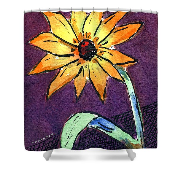 Daisy On Dark Background Shower Curtain