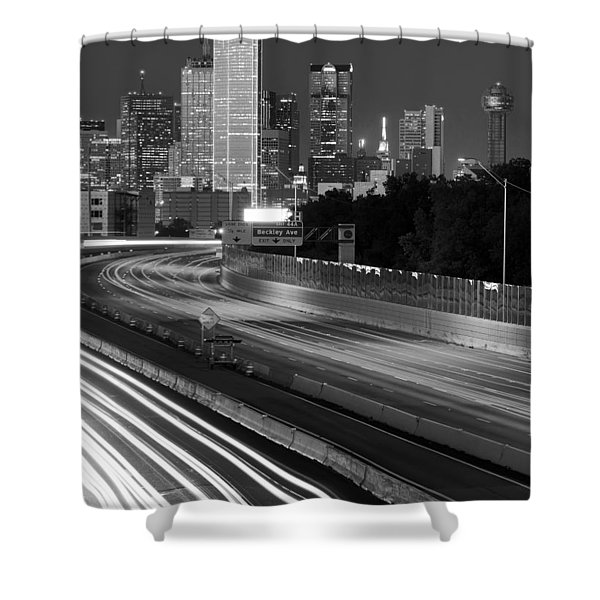 Dallas Arrival Bw Shower Curtain