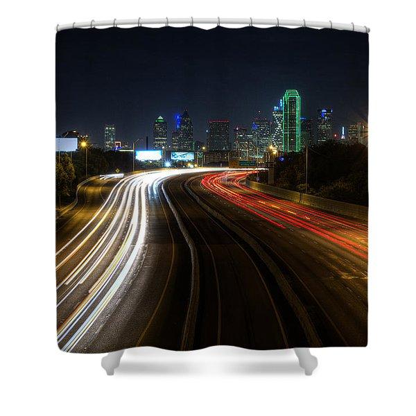 Dallas Night Light Shower Curtain