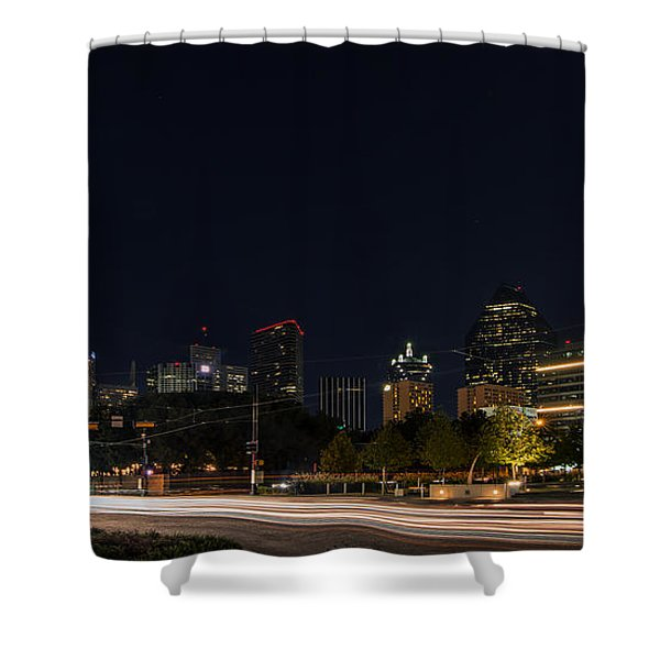 Dallas Night Skyline From Klyde Warren Park Shower Curtain