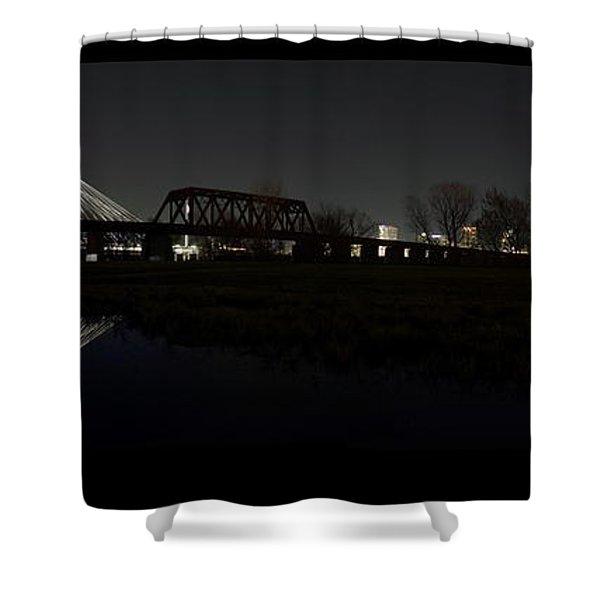 Dallas Skyline Hunt Bridge Color Shower Curtain