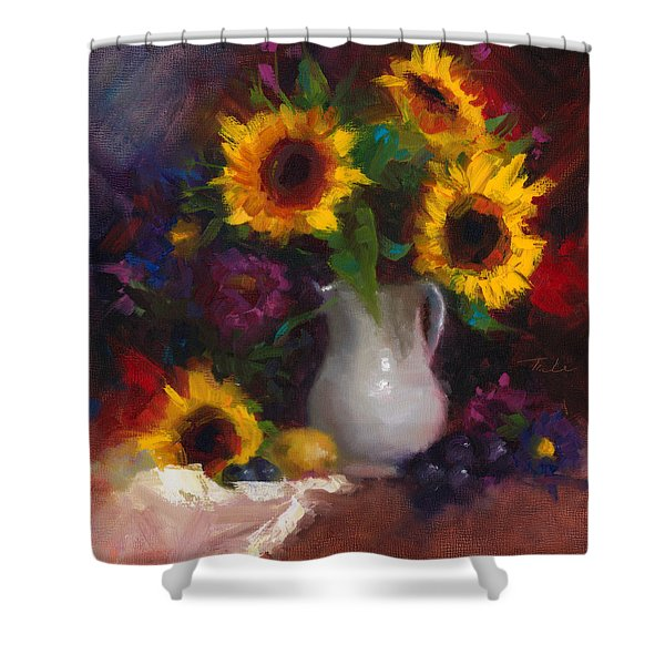 Dance With Me - Sunflower Still Life Shower Curtain