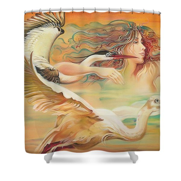 Dancing With Birds Shower Curtain
