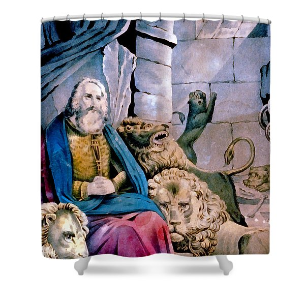 Daniel In The Lions Den Shower Curtain by Currier and Ives