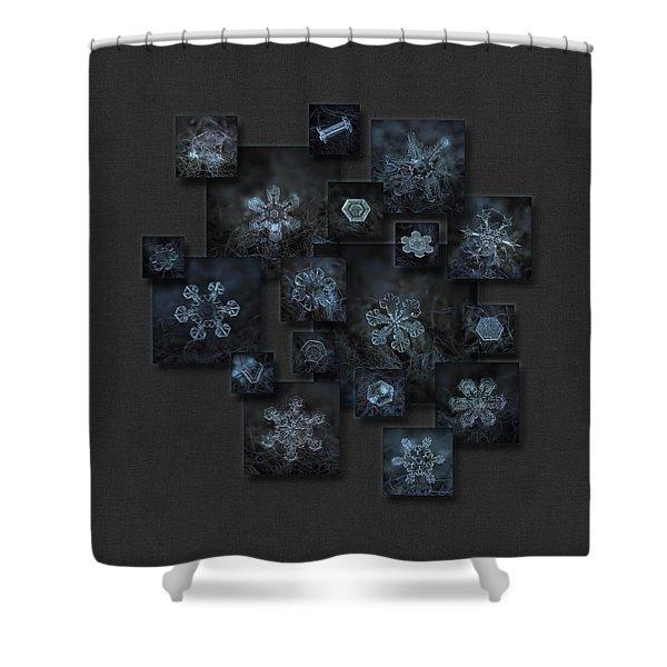 Snowflake Collage - Dark Crystals 2012-2014 Shower Curtain