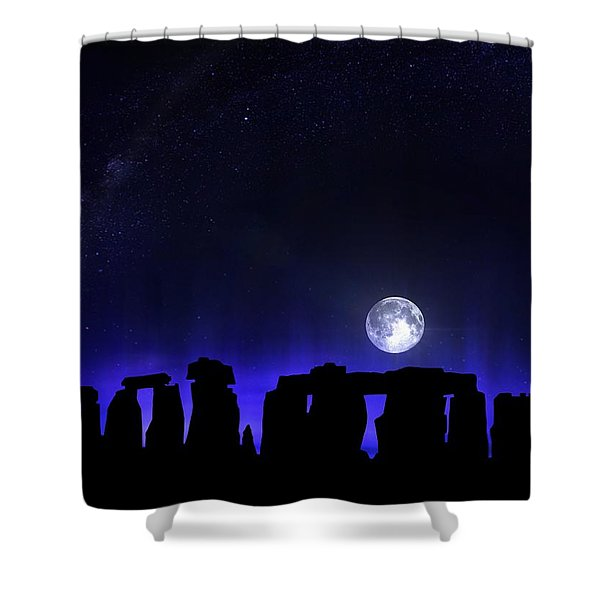 Shower Curtain featuring the digital art Dark Henge by Mark Taylor