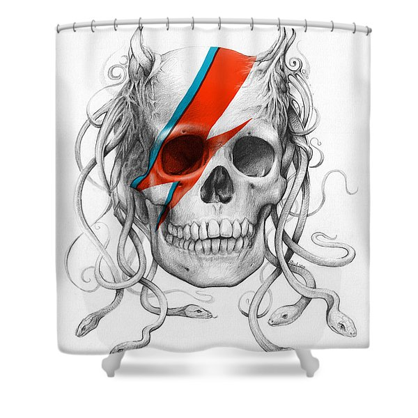 David Bowie Aladdin Sane Medusa Skull Shower Curtain