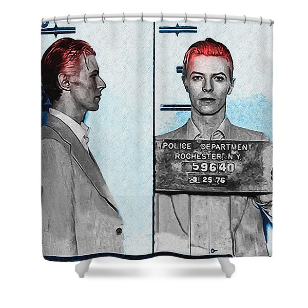 David Bowie Mug Shot Shower Curtain