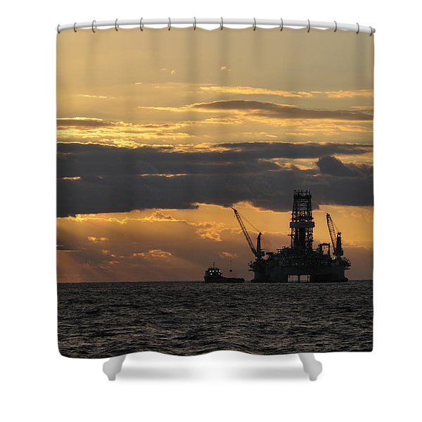 Dawn At The Oil Rig Shower Curtain